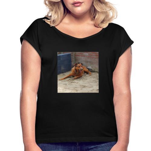 Honden - Vrouwen T-shirt met opgerolde mouwen