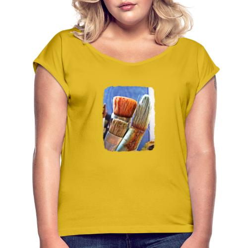 Penslar - T-shirt med upprullade ärmar dam
