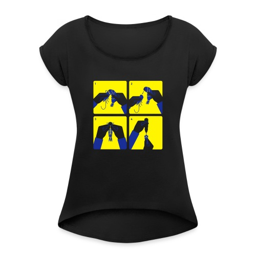 peel shrimp - Women's T-Shirt with rolled up sleeves