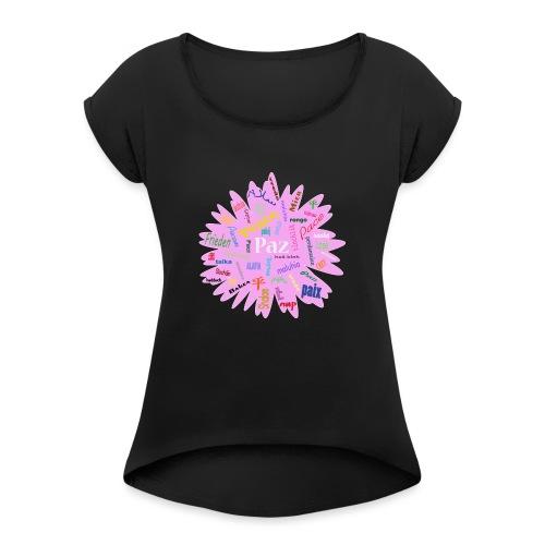peace - Camiseta con manga enrollada mujer