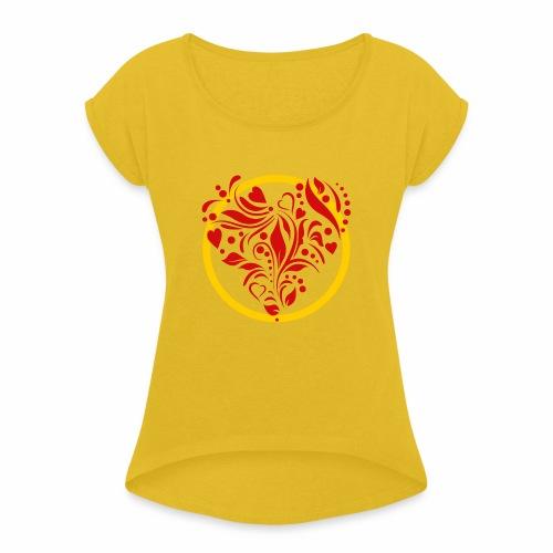 Herzemblem - Frauen T-Shirt mit gerollten Ärmeln