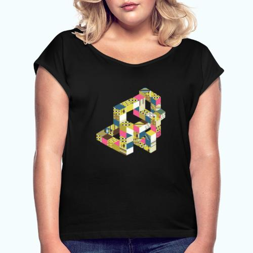 Optical illusion Bright colors - Women's T-Shirt with rolled up sleeves