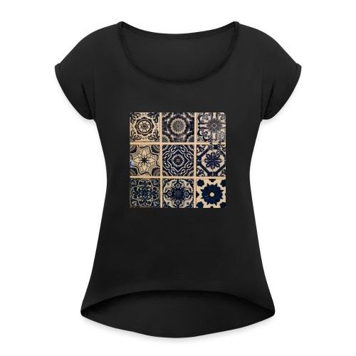 Lissabon 2 - Frauen T-Shirt mit gerollten Ärmeln