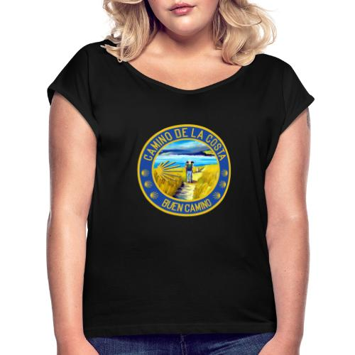 Camino de la Costa - Buen Camino - Frauen T-Shirt mit gerollten Ärmeln