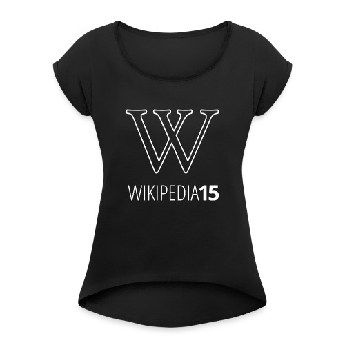 W, rak, svart - T-shirt med upprullade ärmar dam