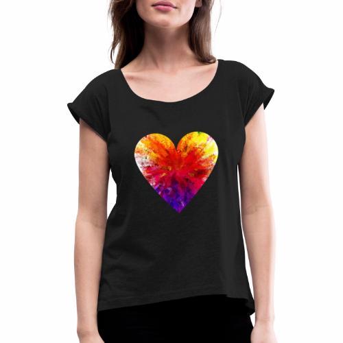 Herz Kristall - Frauen T-Shirt mit gerollten Ärmeln