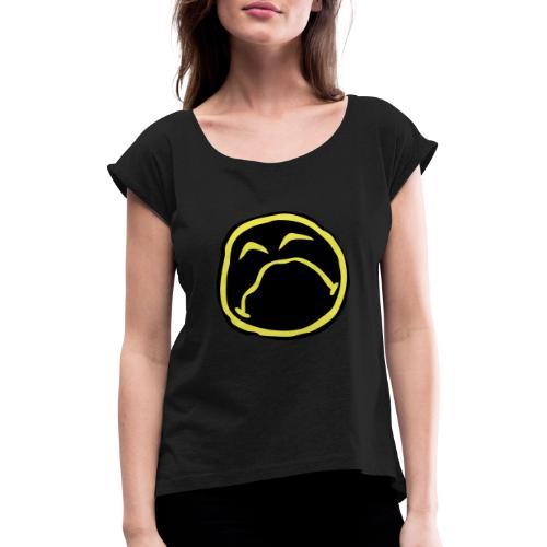 Droef Emoticon - Vrouwen T-shirt met opgerolde mouwen
