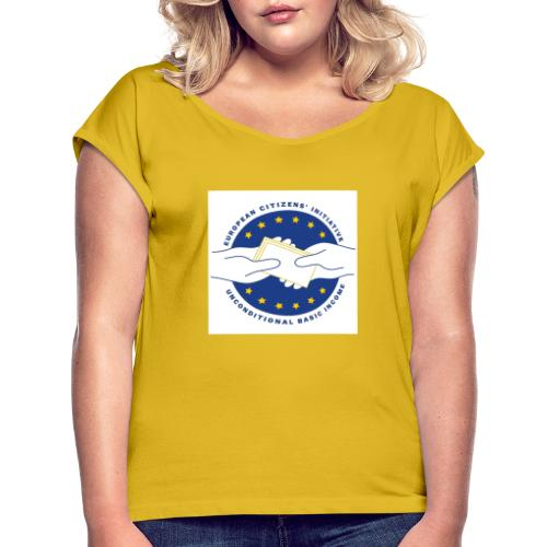 Logo eci-UBI 2020 OP WIT VIERKANT - Vrouwen T-shirt met opgerolde mouwen