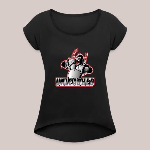 Team Logo: Unleashed - Frauen T-Shirt mit gerollten Ärmeln