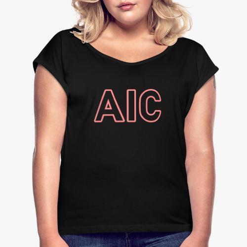 AIC_140%_Vektor_Outline_W - Frauen T-Shirt mit gerollten Ärmeln