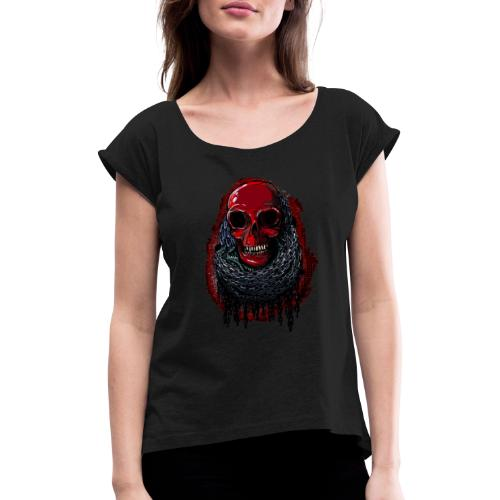 Red Skull in Chains - Women's T-Shirt with rolled up sleeves