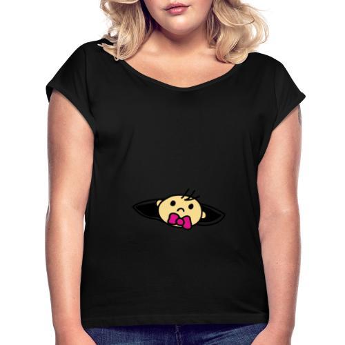 Baby Loading Ich bin Schwanger Design - Frauen T-Shirt mit gerollten Ärmeln