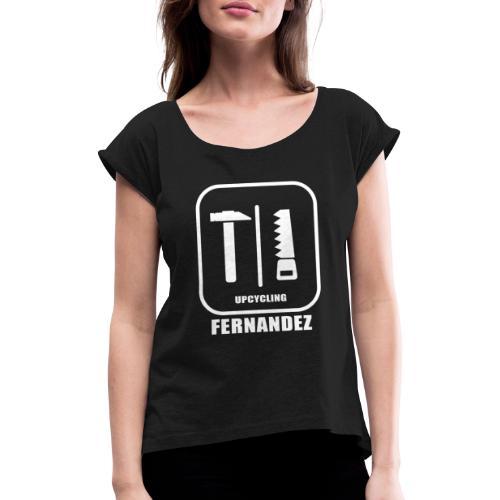 Logo Weiss Schwarz - Frauen T-Shirt mit gerollten Ärmeln