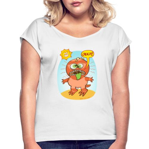Bad summer sunburn for a funny dinosaur - Women's T-Shirt with rolled up sleeves