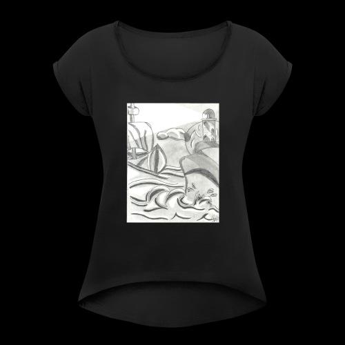 abstrack - Camiseta con manga enrollada mujer