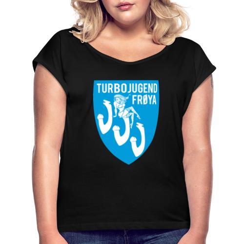 highreslogo copy - T-skjorte med rulleermer for kvinner