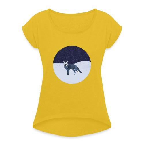 Blue fox - Naisten T-paita, jossa rullatut hihat