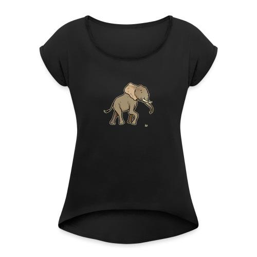African Elephant (black edition) - T-shirt à manches retroussées Femme