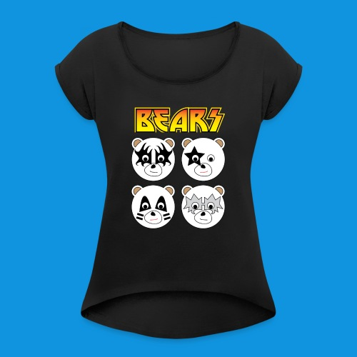 Kiss Bears square.png - Women's T-Shirt with rolled up sleeves