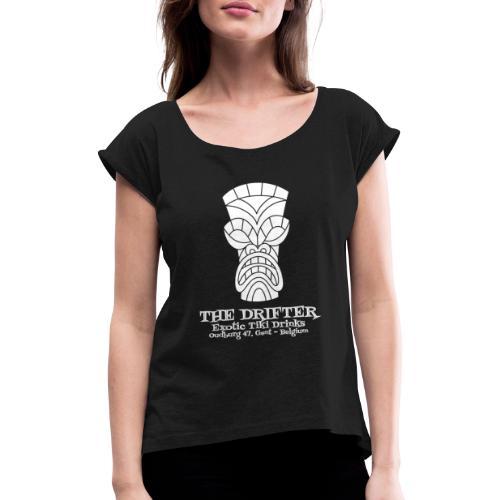 tshirt logo wit - Vrouwen T-shirt met opgerolde mouwen