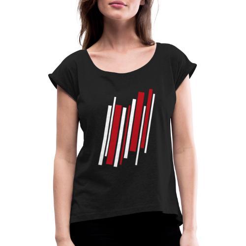 Red-White-Lines - Frauen T-Shirt mit gerollten Ärmeln