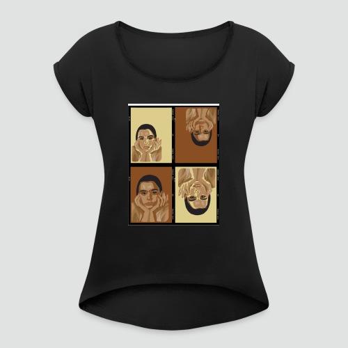 Fashion - Frauen T-Shirt mit gerollten Ärmeln