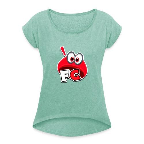 Flying Cappys Logo! - Frauen T-Shirt mit gerollten Ärmeln