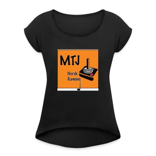 Mtj Logo - T-skjorte med rulleermer for kvinner