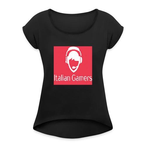 logo italian gamer - Maglietta da donna con risvolti