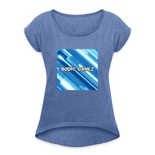 mijn logo YT - Vrouwen T-shirt met opgerolde mouwen