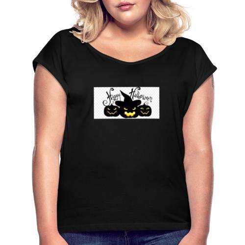 halloween design elements 5a3012a0881802 547731481 - Camiseta con manga enrollada mujer