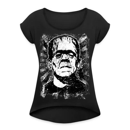 Boris Karloff/Frankenstein vintage sw - Frauen T-Shirt mit gerollten Ärmeln