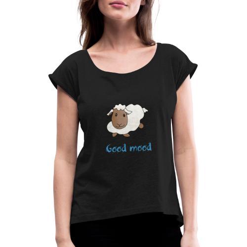 Nadège le petit mouton blanc - T-shirt à manches retroussées Femme