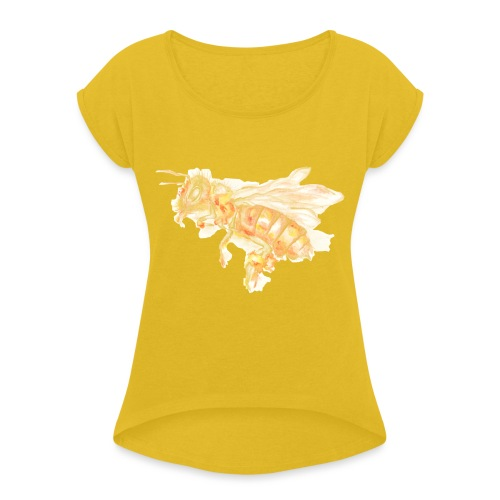 MG002 Bee | Honey | Save the Bees | Books bee - Women's T-Shirt with rolled up sleeves