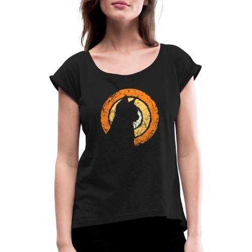 Kattsilhuett - T-shirt med upprullade ärmar dam