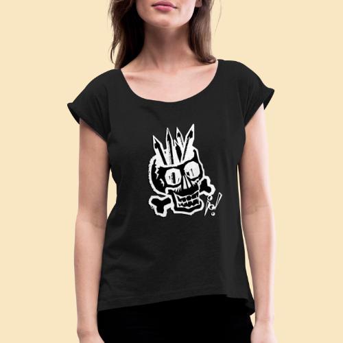 Painterskull black and white - Frauen T-Shirt mit gerollten Ärmeln