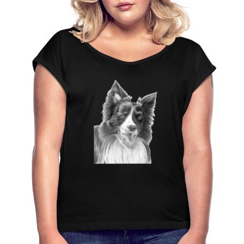 border collie 3 - Dame T-shirt med rulleærmer