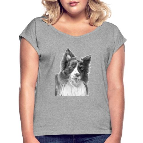 border collie 3 - Dame T-shirt med rulleærmer