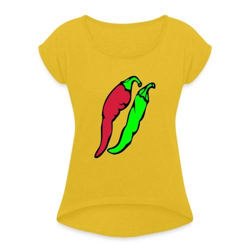 Chilli - Koszulka damska z lekko podwiniętymi rękawami