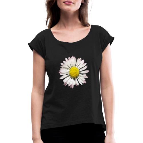 TIAN GREEN Garten - Gänse Blümchen - Frauen T-Shirt mit gerollten Ärmeln