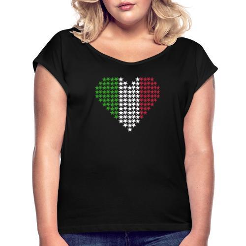 Herz Flagge Italien - Frauen T-Shirt mit gerollten Ärmeln