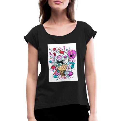 crazy ice cream - Women's T-Shirt with rolled up sleeves