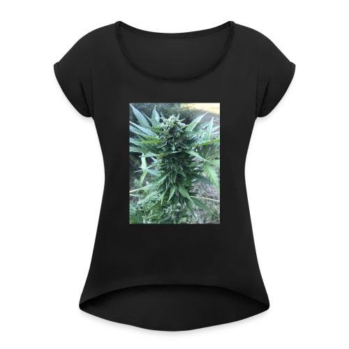 Bud Cannabis - Frauen T-Shirt mit gerollten Ärmeln