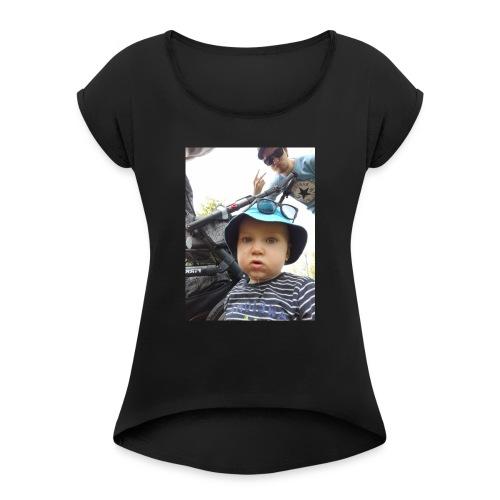 Leevi Drool - Naisten T-paita, jossa rullatut hihat