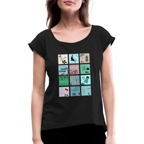 Fashionlover - Frauen T-Shirt mit gerollten Ärmeln