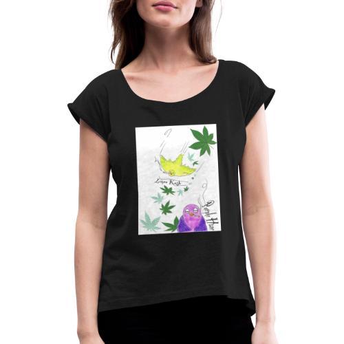 k u s h - Frauen T-Shirt mit gerollten Ärmeln