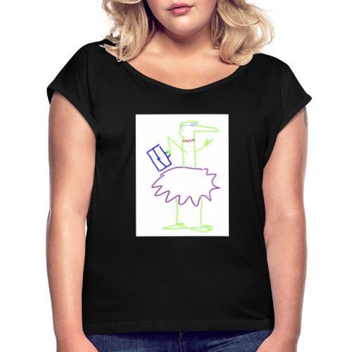 Lady with suitcase - Frauen T-Shirt mit gerollten Ärmeln