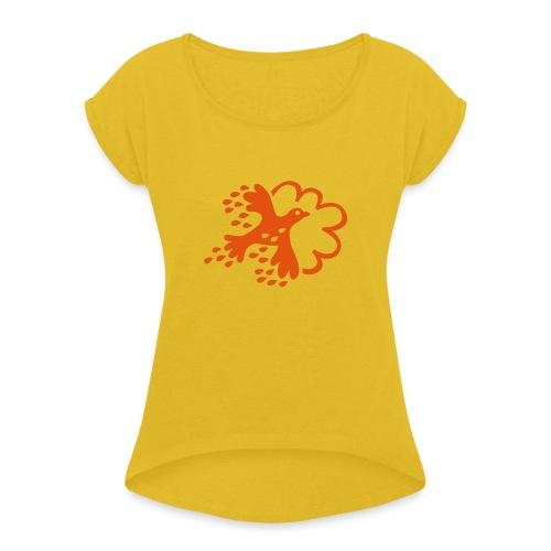 FLAX - T-shirt med upprullade ärmar dam