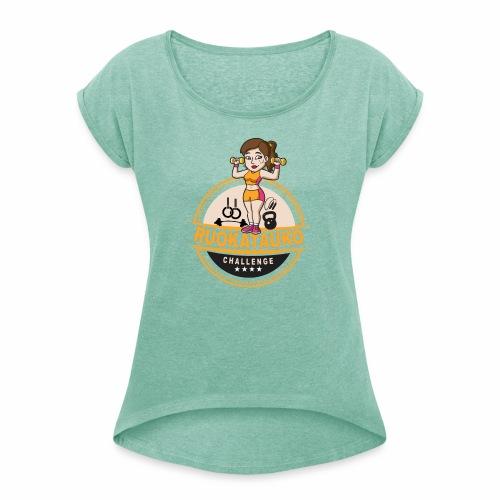 Ruokatauon virallinen challengetyttö - Naisten T-paita, jossa rullatut hihat