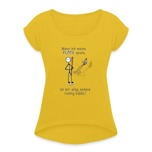 Recorder Love f. bright colours - Women's T-Shirt with rolled up sleeves